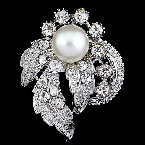Gorgeous Rhinestone and Faux Pearl Decorated Brooch For Women