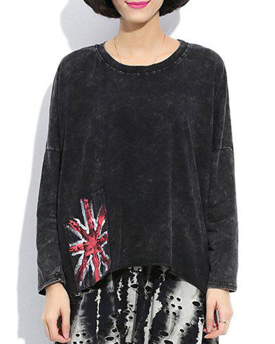 Stylish Round Collar Long Sleeve Flag Pattern Loose-Fitting Women's Blouse - BLACK ONE SIZE(FIT SIZE XS TO M)