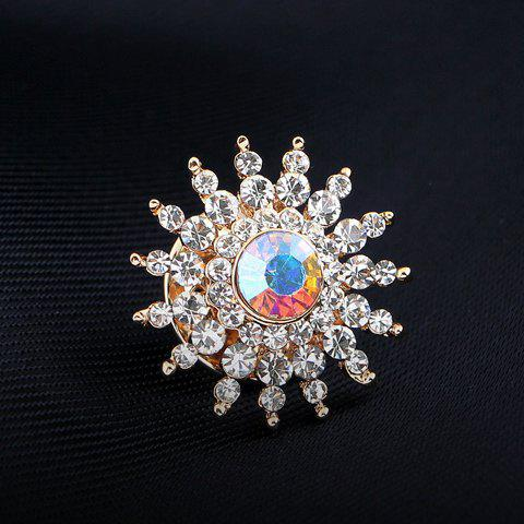 Rhinestone Embellished Sunflower Brooch - WHITE