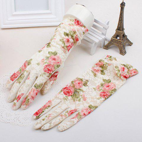 Pair of Chic Lace Floral Pattern Women's Gloves - OFF WHITE