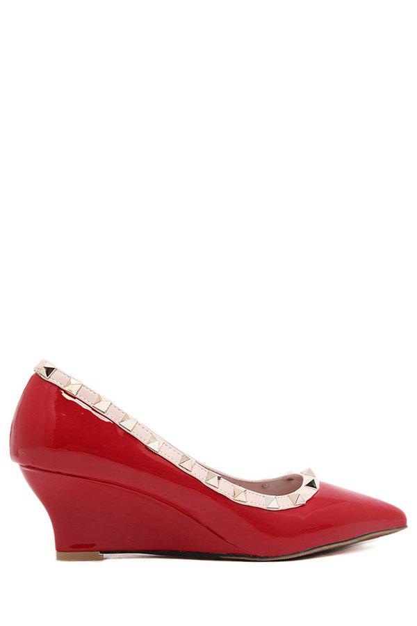 Elegant Patent Leather and Rivets Design Women's Wedge Shoes - RED 39