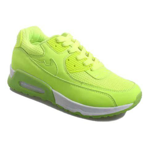 Stylish Solid Colour and Lace-Up Design Athletic Shoes For Women - NEON GREEN 35