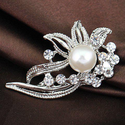 Delicate Rhinestoned Flower Leaf Brooch For Women