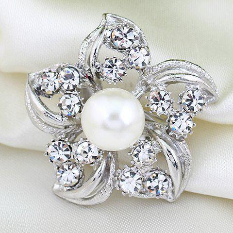Flower Rhinestoned Hollow Out Brooch - SILVER