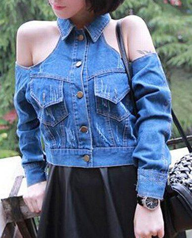 Sexy Women's Turn-Down Collar Long Sleeve Hollow Out Denim Jacket - BLUE M