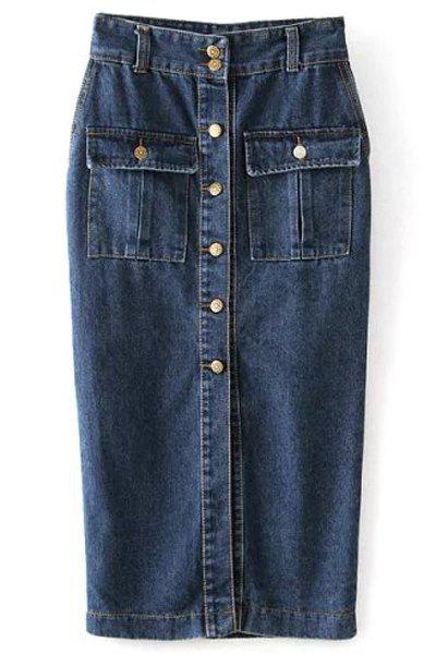 Stylish High-Waisted Packet Buttocks Single-Breasted Women's Long Denim Skirt - BLUE L
