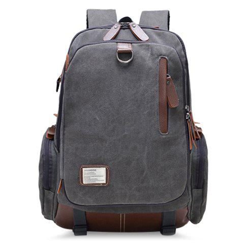 Trendy Color Block and Buckle Design Canvas Bag For Men - GRAY