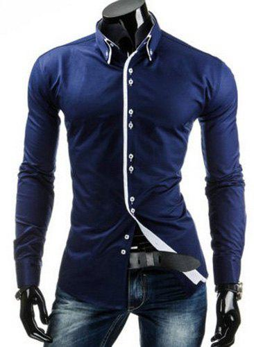 Slimming Shirt Collar Trendy Contrast Color Placket Long Sleeve Polyester Men's Button-Down Shirt - CADETBLUE M