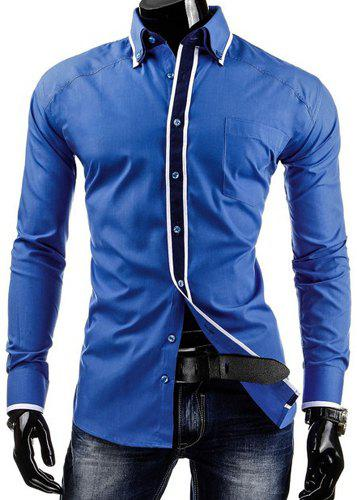 Slimming Shirt Collar Modish Color Block Stripe Placket Long Sleeve Polyester Men's Button-Down Shirt - SAPPHIRE BLUE L