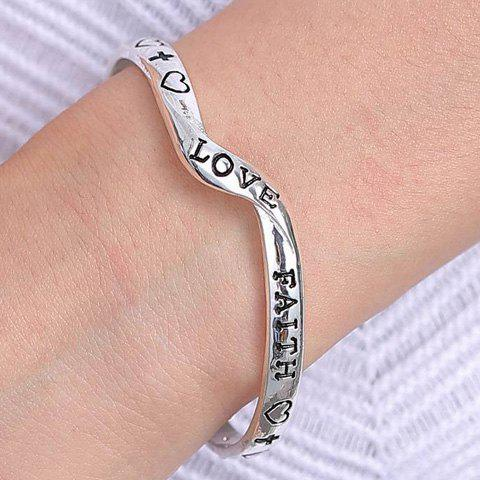 Bohemian Style Letter Heart Printed Irregular Cuff Bracelet For Women