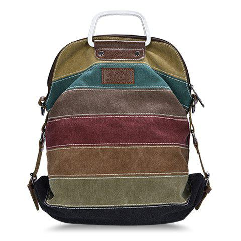 Casual Striped and Stitching Design Canvas Bag For Women