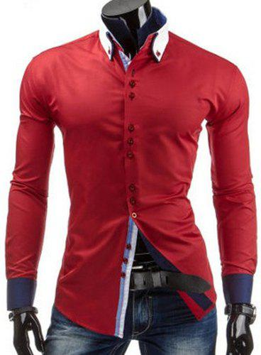 Slimming Shirt Collar Trendy Sutures Design Color Block Splicing Long Sleeve Men's Button-Down Shirt 142571104