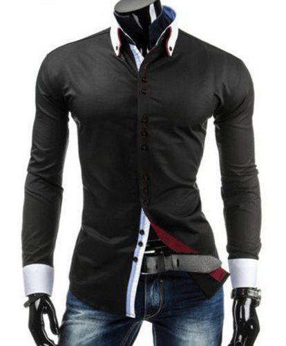 Slimming Shirt Collar Trendy Sutures Design Color Block Splicing Long Sleeve Men's Button-Down Shirt - BLACK 2XL