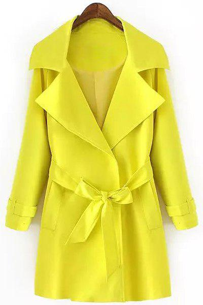 Fashionable Turn-Down Collar Belt Solid Color Long Sleeve Trench Coat For Women fashionable turn down collar belt tie up long sleeve trench coat for women