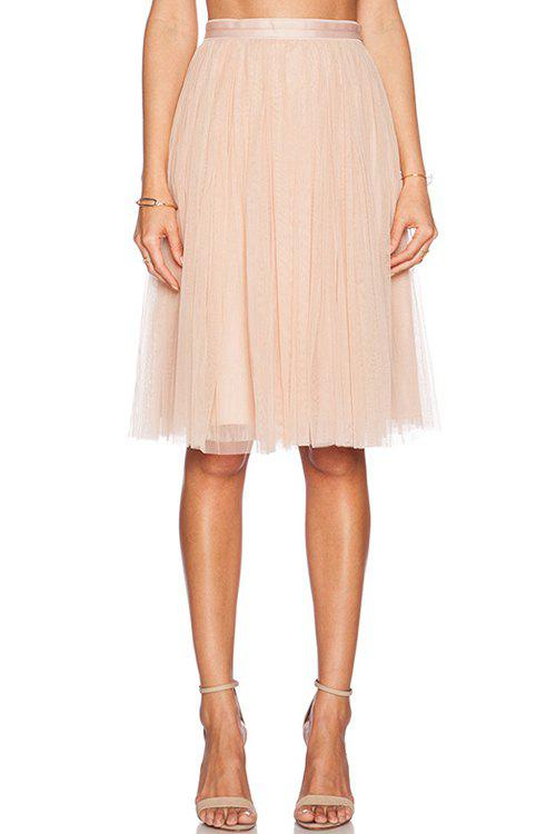 Sweet High-Waisted Solid Color Pleated Women's Voile Skirt - PINK L