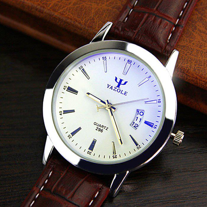 Yazole 296 Date Display Quartz Watch with Double Scales Leather Band for Men