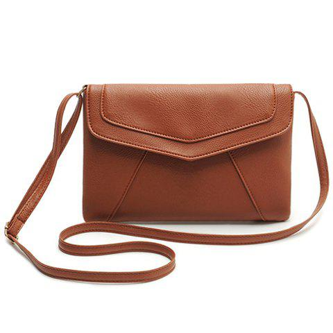 Simple Style Candy Color and Envelope Design Crossbody Bag For Women - BROWN