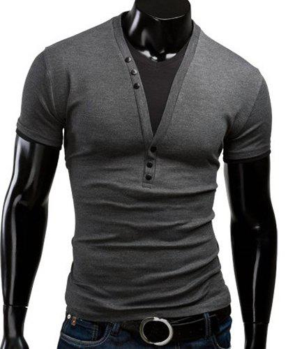 Slimming V-Neck Trendy Color Block Faux Twinset Short Sleeve Polyester Men's T-Shirt - DEEP GRAY L