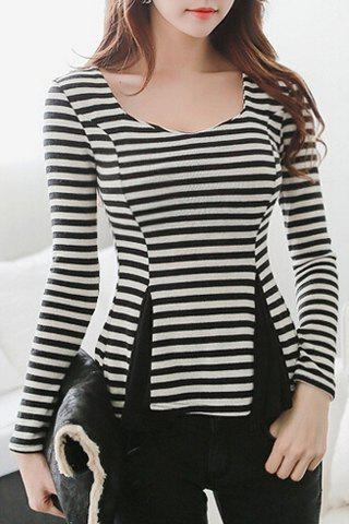 Elegant Striped Splicing Sweetheart Neck Long Sleeve Blouse For Women - WHITE/BLACK ONE SIZE(FIT SIZE XS TO M)