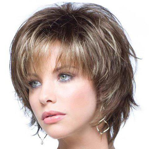 Spiffy Heat Resistant Fiber Shaggy Short Blonde Mixed Brown Side Bang Wavy Capless Wig For Women fashion side bang charming short straight dark brown mixed blonde heat resistant synthetic capless wig for women