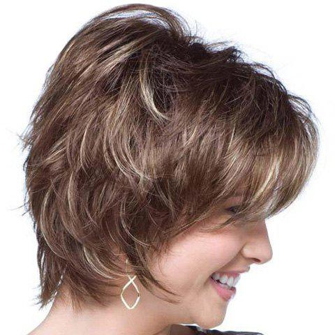 Spiffy Heat Resistant Fiber Shaggy Short Blonde Mixed Brown Side Bang Wavy Capless Wig For Women - COLORMIX