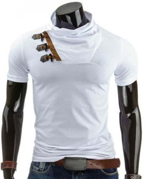 Color Block Horn Button Cowl Neck T-Shirt - WHITE M