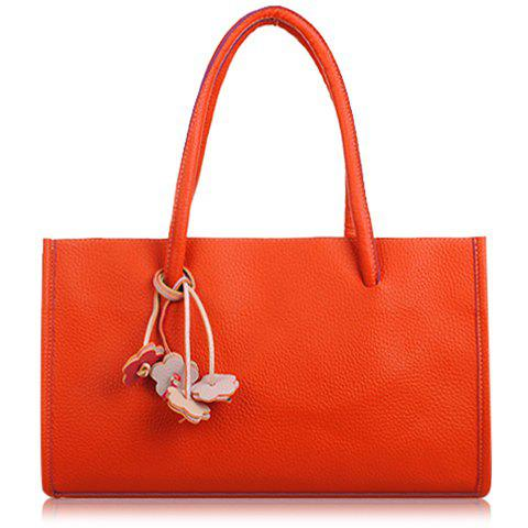 Retro Flowers Pendant and Candy Color Design Tote Bag For Women - ORANGE