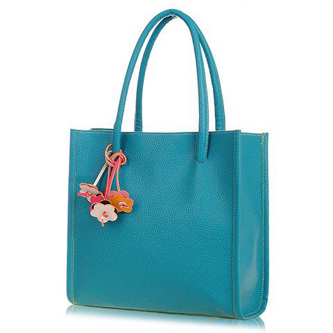 Vintage Flowers Pendant and Candy Color Design Tote Bag For Women - BLUE