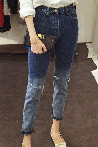 Stylish Mid-Waisted Hold Design Ombre Women's Jeans - BLUE S