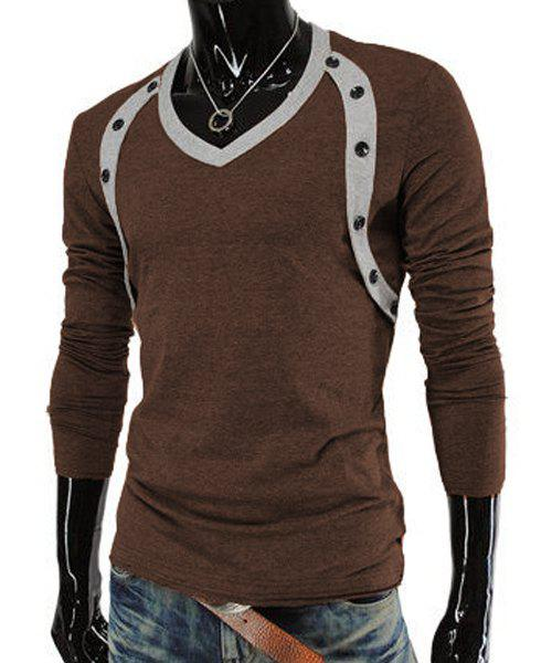 Slimming V-Neck Trendy Button Design Color Block Splicing Long Sleeve Polyester Men's T-Shirt - COFFEE M