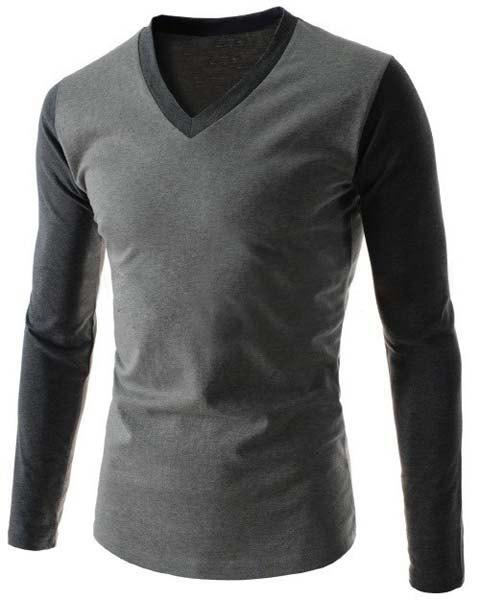 Slimming V-Neck Modish Two Color Splicing Long Sleeve Polyester Men's T-Shirt - GRAY M
