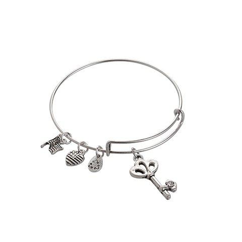 Heart Flag Key Waterdrop Bracelet - SILVER