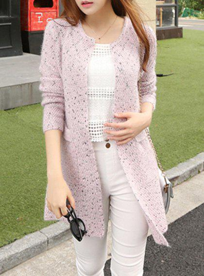 Casual Round Neck Loose-Fitting Long Sleeve Women's Cardigan - LIGHT PINK ONE SIZE(FIT SIZE XS TO M)