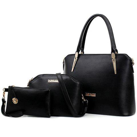 Stunning Solid Color and Metal Design Tote Bag For Women - BLACK