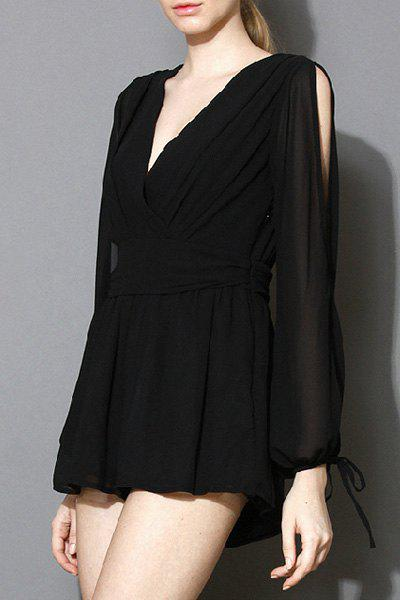 Stylish Plunging Neck Long Sleeve Solid Color Women's Playsuit - BLACK L