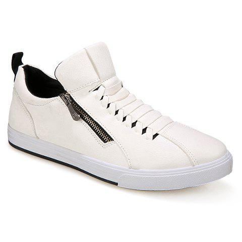Stylish PU Leather and Zipper Design Casual Shoes For Men - WHITE 41