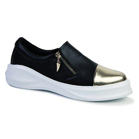 Stylish Color Block and Zipper Design Casual Shoes For Men - BLACK / GLODEN 43