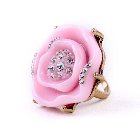 Rhinestone Flower Ring - PINK ONE-SIZE