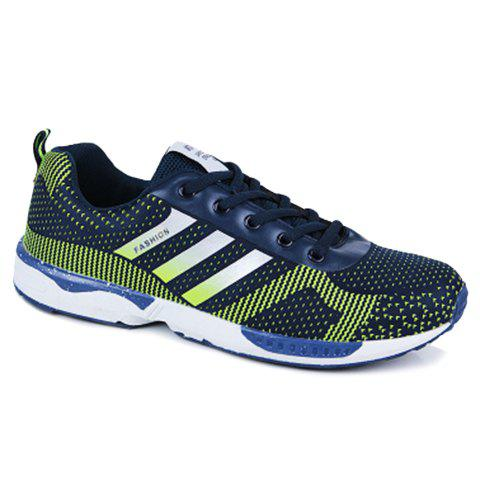 trendy color block and lace up design athletic shoes for