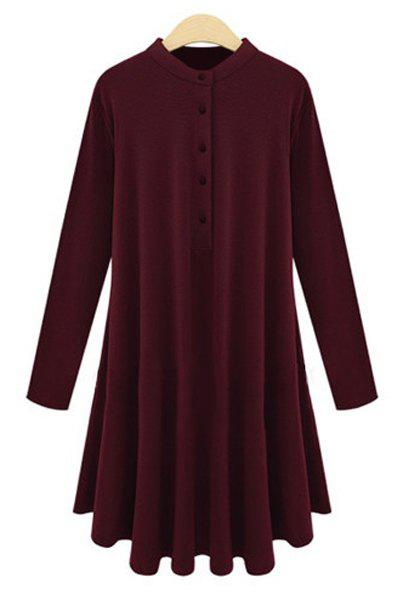 Casual Stand Collar Solid Color Plus Size Long Sleeve Women's Dress - WINE RED XL