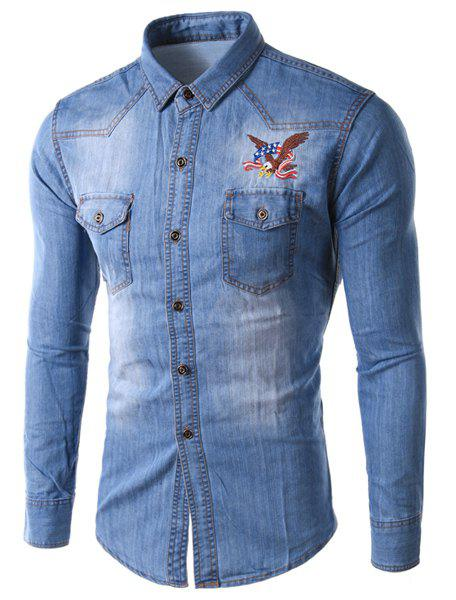 Slimming Shirt Collar Stylish Eagle Embroidered Long Sleeve Men's Denim Jacket - LIGHT BLUE L