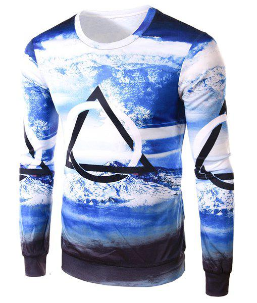 Slimming Round Neck Modish 3D Snowberg Print Long Sleeve Polyester Men's T-Shirt - BLUE/WHITE L