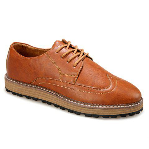 Vintage Stitching and Lace-Up Design Casual Shoes For Men - LIGHT BROWN 43