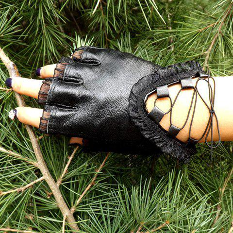 Pair of Chic Lace Ruched Edge Lace-Up Embellished PU Fingerless Gloves For Women - BLACK