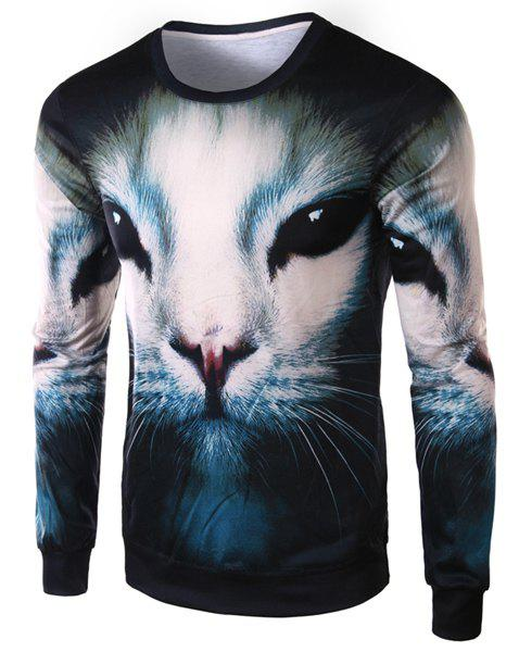 Slimming Round Neck Fashion 3D Cat Face Print Long Sleeve Polyester Men's T-Shirt - COLORMIX M