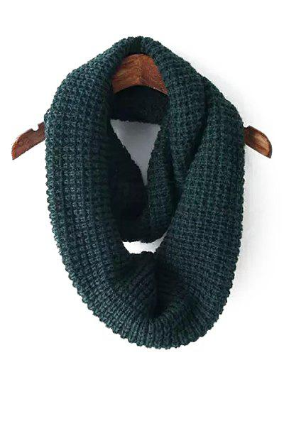 Chic Solid Color Knitted Infinite Scarf For Women - BLACKISH GREEN