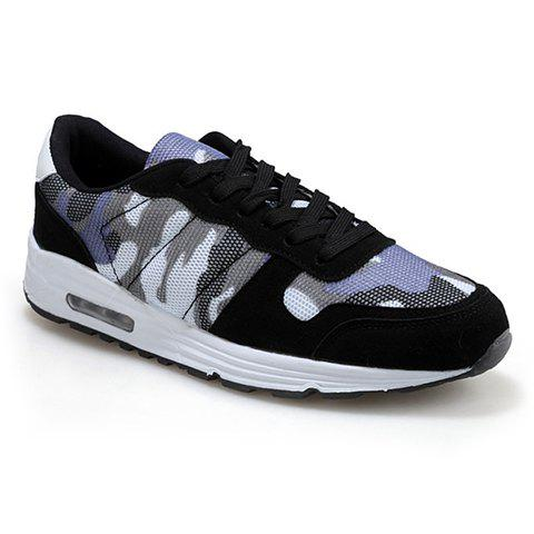 trendy camouflage pattern and suede design athletic shoes