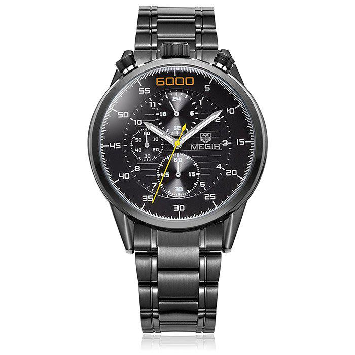 MEGIR 3005 Water Resistant Male Japan Quartz Watch with Luminous Analog Stainless Steel Strap Working Sub-dials - BLACK