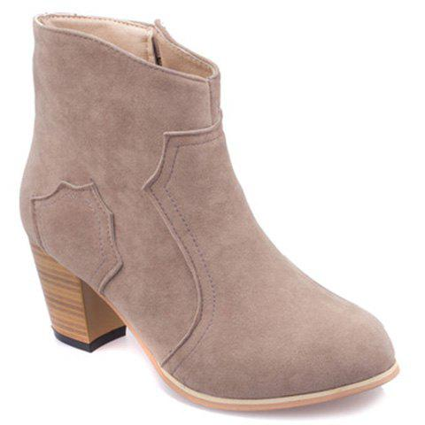 Simple Style Suede and Chunky Heel Design Ankle Boots For Women