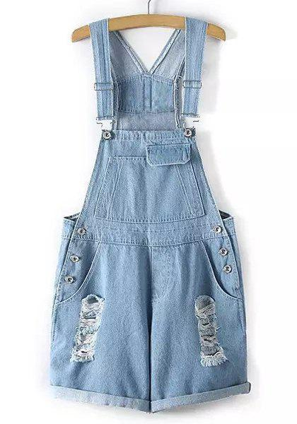 Stylish Hole Design Rolled-Up Denim Women's Overalls - LIGHT BLUE L
